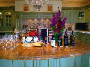a beautiful kitchen for a wine party